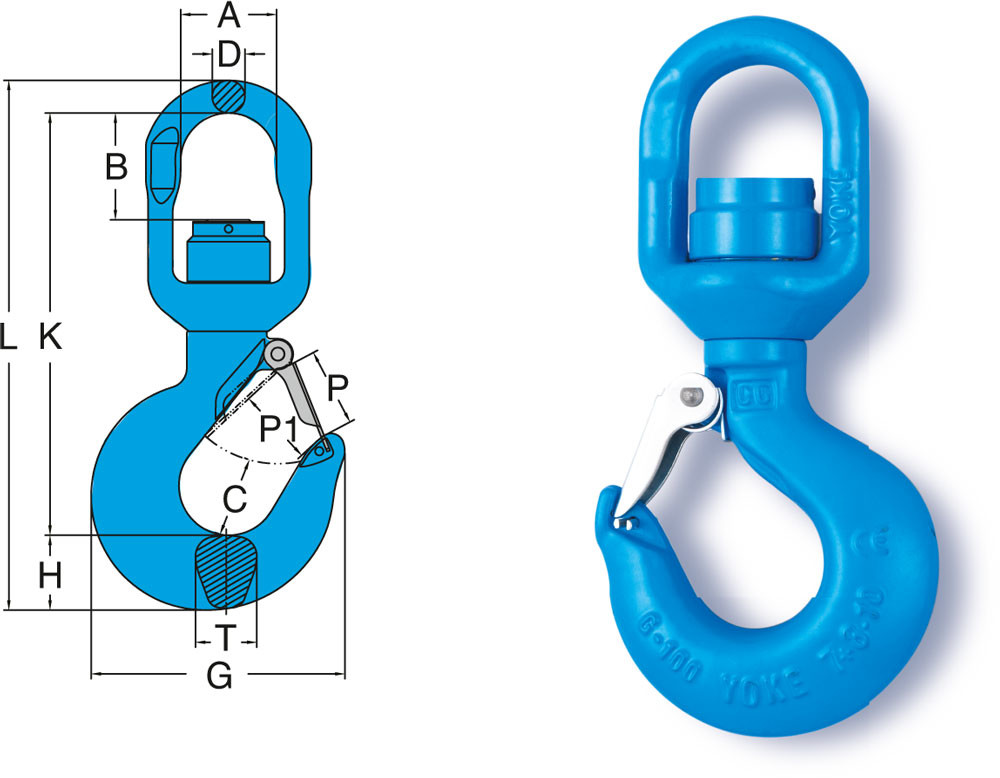 B//A Products 8-175N-05 5 Ton Grade 100 Ball Bearing Swivel Hoist Lifting Hook